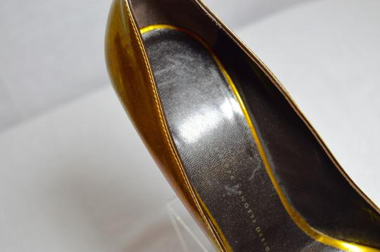 Giuseppe Zanotti Made In Italy Gunmetal Heel Metallic Gold Pumps Image 5