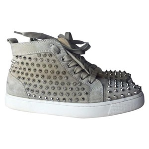 Christian Louboutin tan, silver Athletic