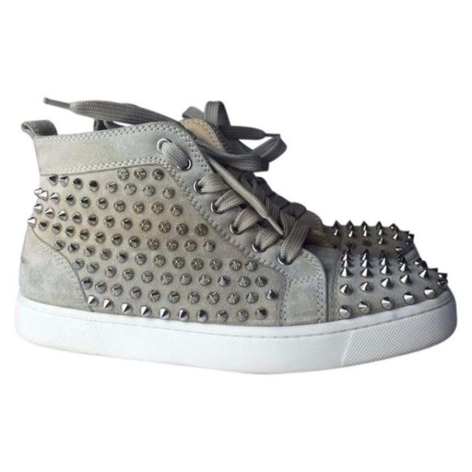 9ade4d34658 Christian Louboutin Tan Silver Suede Spike Sneakers Sneakers Size US ...