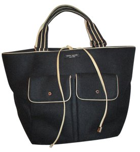 Kate Spade Canvas Leather Tote In Black Beige