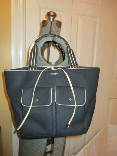 Kate Spade Canvas Leather Tote in black & beige Image 1
