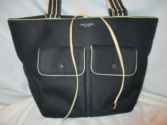 Kate Spade Canvas Leather Tote in black & beige Image 2