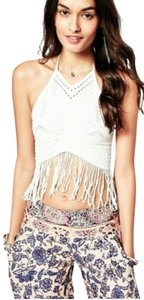 Free People White Fringe Eyelet Fringed Eyelet Ivory Halter Top