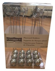 Set Of 12 Silver Ball Place Card Holders
