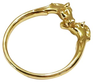 Hermès Gold Plated Double Horse Head Bangle Small Size