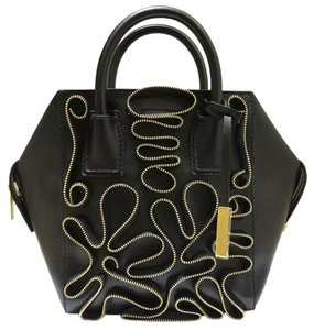 Stella McCartney Cavendish Mini Boston Zipper Faux Leather Eco Nappa Tote in Black
