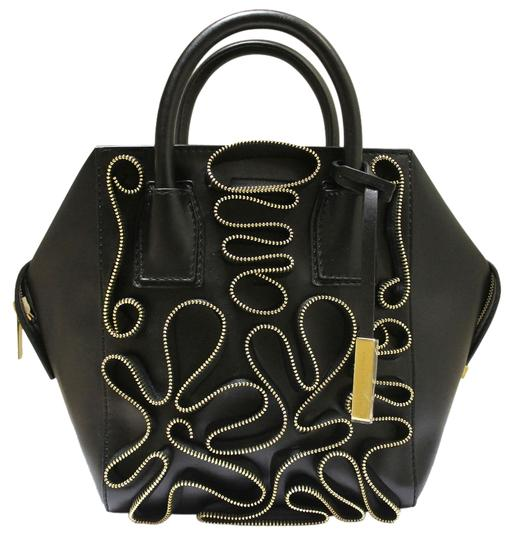 Stella McCartney Cavendish Mini Boston Zipper Purse Faux Leather Eco Nappa Tote in Black