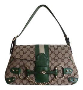 Gucci Horsebit Monogram Leather Tote in green