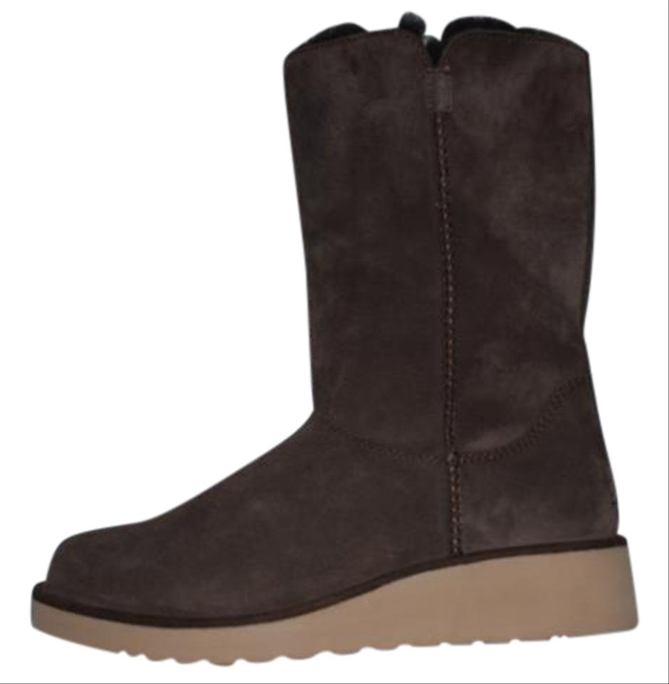 6ad23b00058a Koolaburra Sample Wedge Winter Suede Sheepskin Eva Sole Brown Boots Image 0  ...