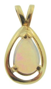 Other Antique White Pear Cut Opal Pendant- 14k Yellow Gold