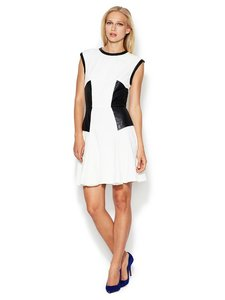 W118 by Walter Baker Embossed Faux Leather Fit Flare Dress