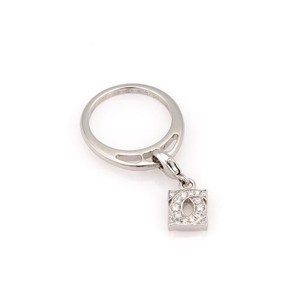 Cartier Double C Diamond 18k White Gold Drop Charm Band Ring Size 48 - US 4.5