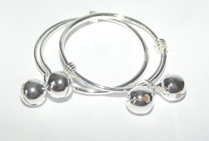 Adjustable Sterling Plated Child's Bangle Bracelet Set Free Shipping