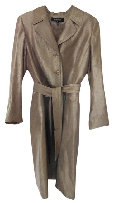Item - Gold 2 Piece Sleeveless Sheath Dress with Matching Belted Long Jacket. Skirt Suit Size 10 (M)