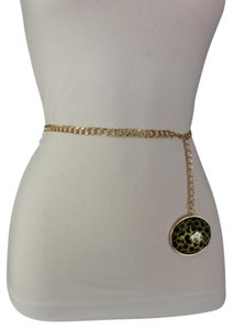 Alwaystyle4you Women Belt Fashion Gold Metal Chain Link Big Oval Leopard Charm