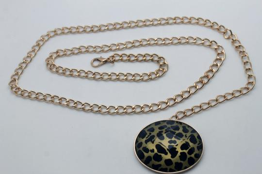 Alwaystyle4you Women Belt Fashion Gold Metal Chain Link Big Oval Leopard Charm Image 5