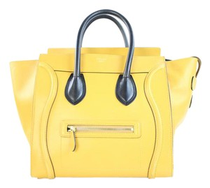Céline Mini Luggage Phantom Nano Luggage Smiley Knot Satchel in Yellow
