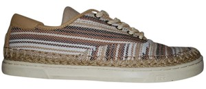 UGG Australia Mexican Blanket Woven Striped Rubber Sole Wool Lining Chestnut Flats