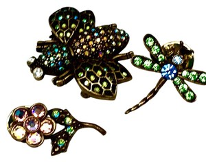 Kirks Folly AB PEACOCK SWAROVSKI CRYSTAL BUMBLE BEE-FLOWER-DRAGONFLY PIN SET