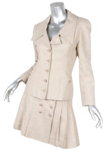 Chanel 94P VINTAGE Beige Linen Blazer Jacket Pleated Skirt Suit 34/36