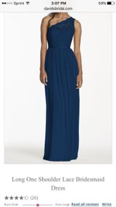 David's Bridal Marine Nylon & Rayon Lace Bodice with Flowing Polyester Skirt Long One Shoulder Dress-marine Formal Bridesmaid/Mob Dress Size 10 (M)