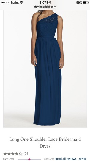 David's Bridal Marine Nylon & Rayon Lace Bodice with Flowing Polyester Skirt Long One Shoulder Dress-marine Formal Dress Size 10 (M)