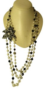 White House | Black Market triple strand beaded & faux pearl
