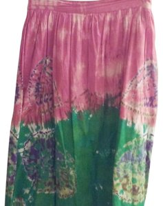 St. John Maxi Skirt Rust green and white