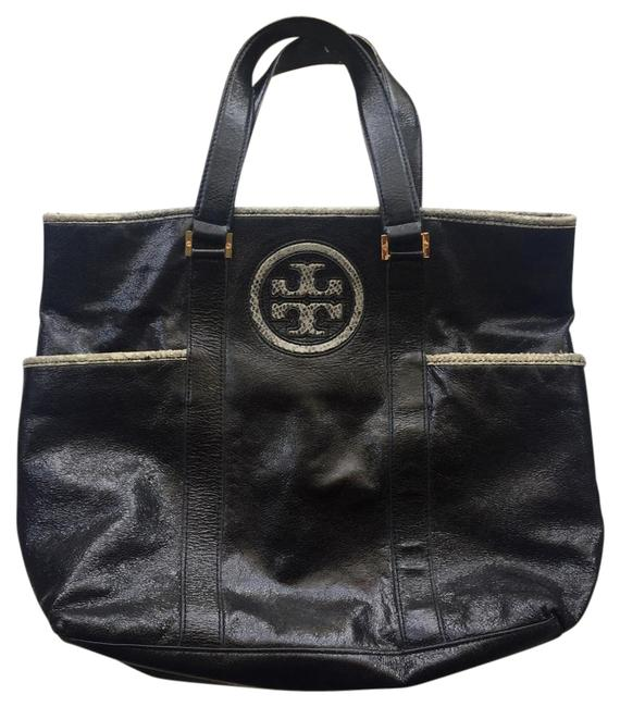 Tory Burch Classic Black Leather Tote Tory Burch Classic Black Leather Tote Image 1