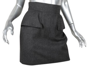 Chanel Pencil Wool Mini Skirt CHARCOAL