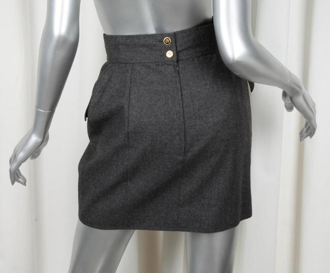 Chanel Pencil Wool Mini Skirt CHARCOAL Image 2