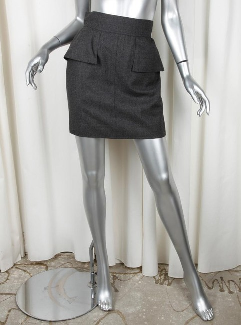 Chanel Pencil Wool Mini Skirt CHARCOAL Image 3