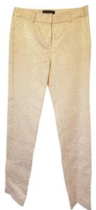 Pink Tartan Fancy Brandname Straight Pants Ivory and gold