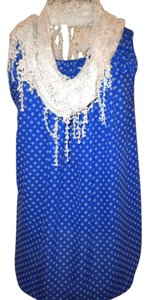 Elle Rayon Polyester Print Sleeveless Top Royal Blue with white flowers