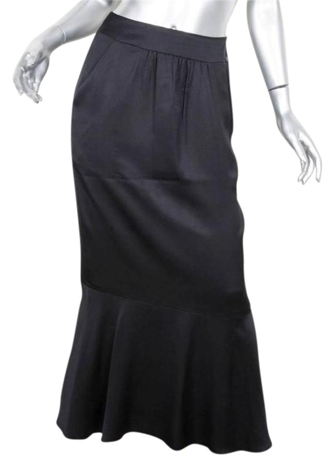 low price sale luxury variousstyles Chanel Black 01a Womens Silk Satin Straight Mermaid Long Skirt Size 2 (XS,  26)