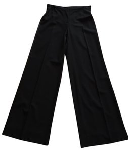 Cline Flat Front Grey Wool Size French 42 Wide Leg Pants Black