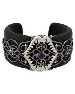 Stephen Webster Stephen Webster Less Dents De La Mer Black Resin amethyst cuff bangle