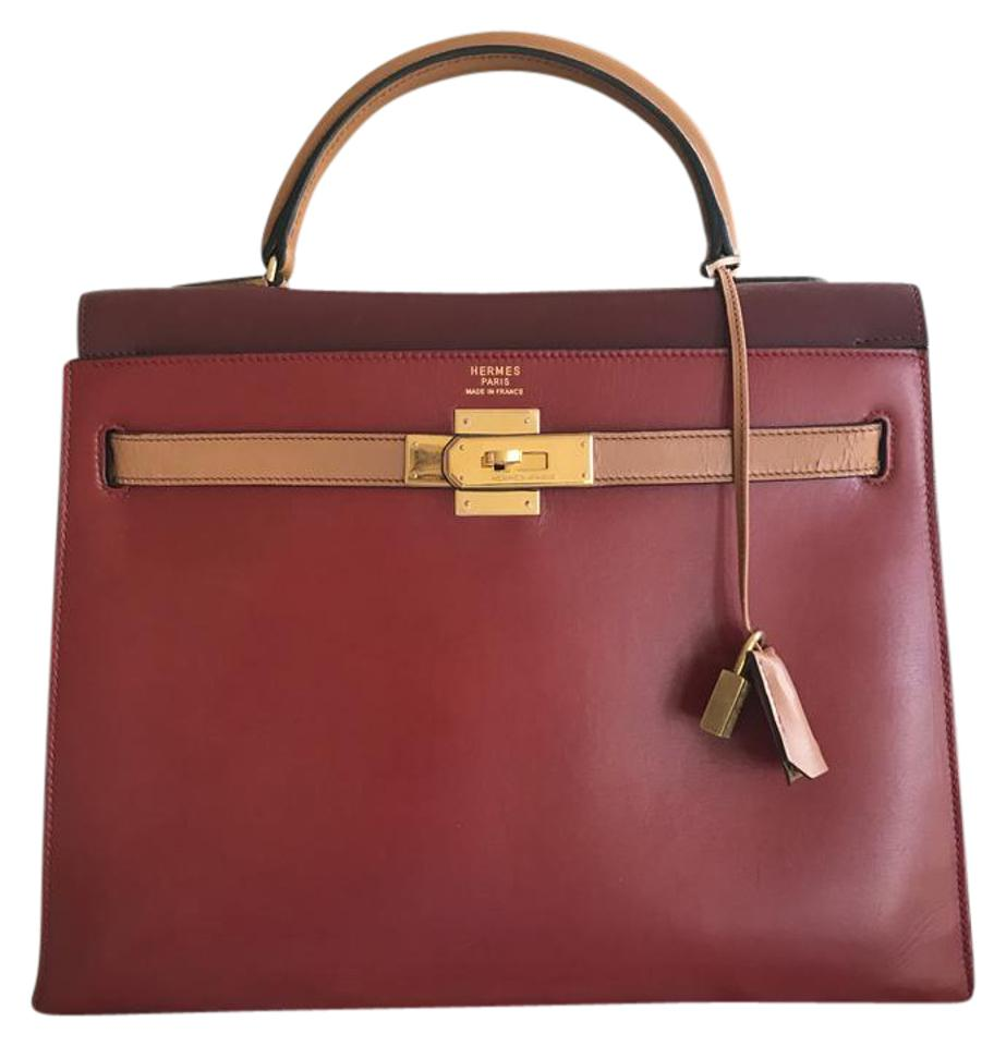 aef00702ced Hermès Kelly Tricolor Box Calf 32 Cm Red Burgundy and Brown Leather ...