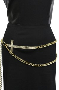 Other Women Metal Chain Fashion Belt Waist Hip Gold Long Cross Buckle Charm