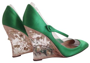 Valentino Garavani Rockstud Plexi Wedge Mary Jane Green Pumps