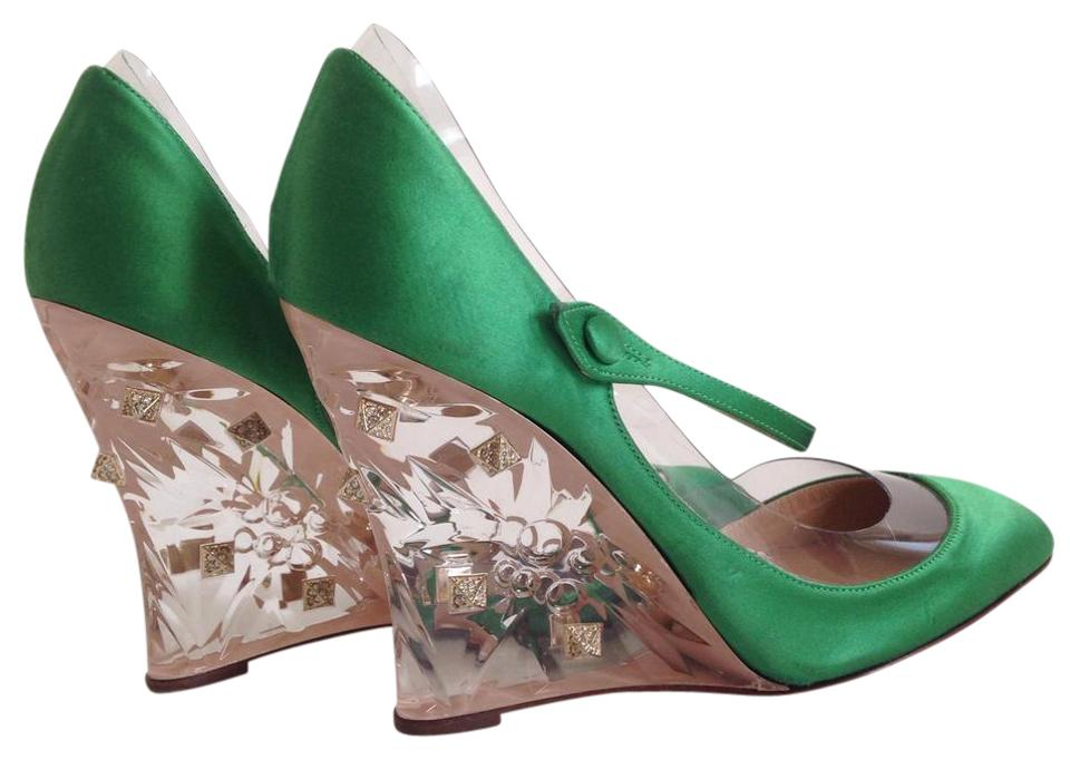 LADY Valentino Green For Rockstud Plexi Pumps For Green your choice 7dfac4