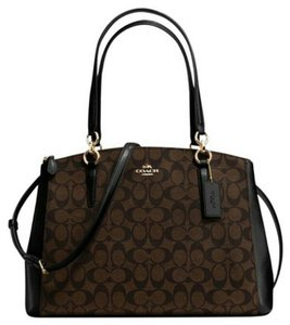 Coach Christie Crossbody Swingpack Signature Satchel in Brown and black