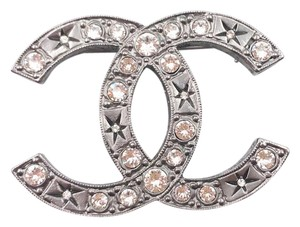 Chanel Chanel Gunmetal CC Crystal Star Pattern Large Brooch