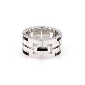 Cartier Dragon 18K White Gold 11mm Band with Black Enamel Size - 54 - US 6.7