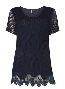 Izabel London Crochet Embroidered Sheer Bohemian Spring Top Navy Blue
