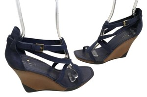 Kate Spade Lining Heel Backing Blue Suede Leather T and Ankle Straps Wood Veneer Base Open Toe Wedges