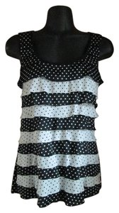 White House | Black Market Polka Dot Ruffled Spring Summer Formal Top Black & White