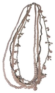Other Pink,Crystal, Clear Gems,Beaded Silver Chain Link Necklace