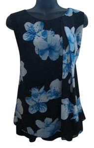 Calvin Klein Chiffon Floral Spring Summer Formal Top Black & Blue