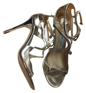 Jimmy Choo Mirror Leather Silver Sandals